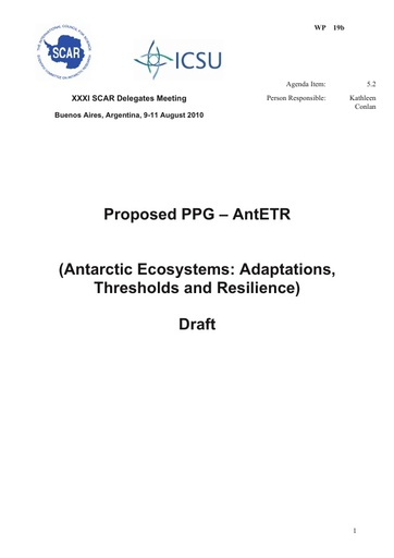 SCAR XXXI WP19b: Report on Proposed PPG Antarctic Ecosystems: Adaptations, Thresholds and Resilience (AntETR)