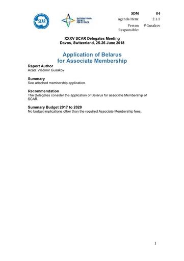 SCAR XXXV WP04: Application of Belarus for Associate Membership