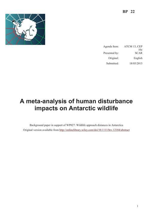 BP022: A Meta-analysis of Human Disturbance Impacts on Antarctic Wildlife