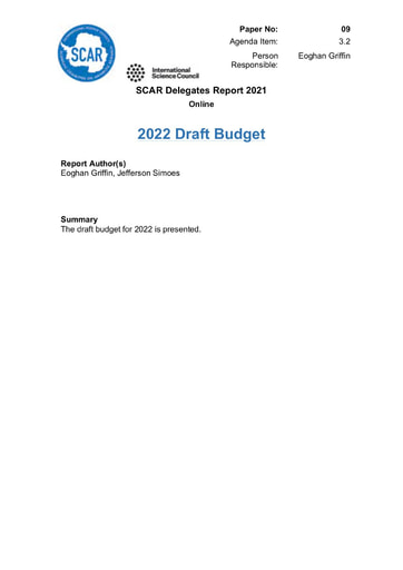 SCAR XXXVI Paper 09: Revised Draft Budget for 2022