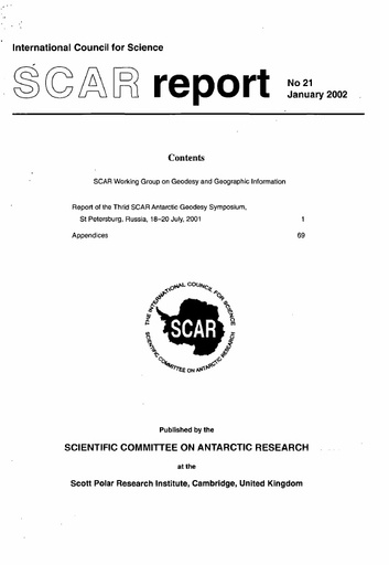 SCAR Report 21 - 2002 January - SCAR Working Group on Geodesy and Geographic Information