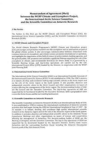 MoA between IASC, SCAR and CliC, signed 16 April 2013