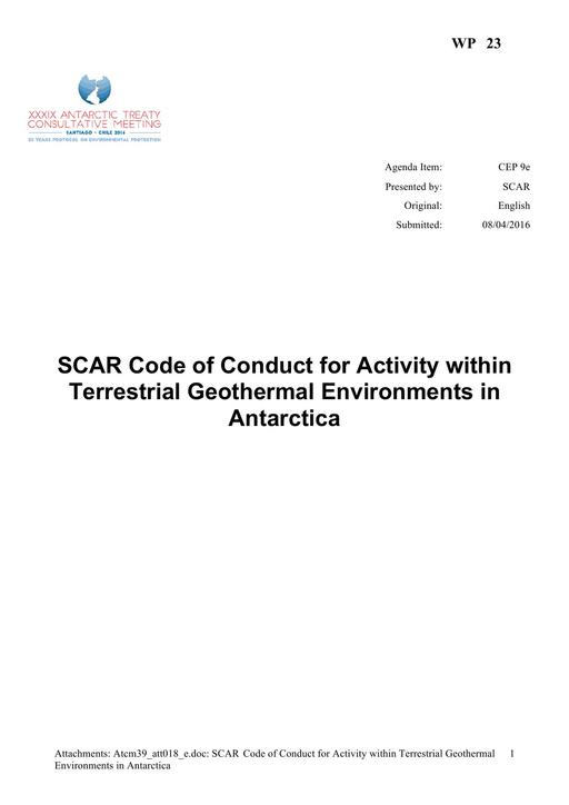 WP023: SCAR Code of Conduct for Activity within Terrestrial Geothermal Environments in Antarctica