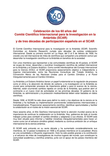 Spanish version of SCAR's 60th Anniversary Press Release
