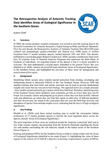 SCAR Report 2019/2020 RAATD to CCAMLR