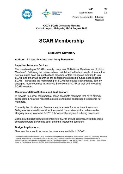 SCAR XXXIV WP05: SCAR Membership