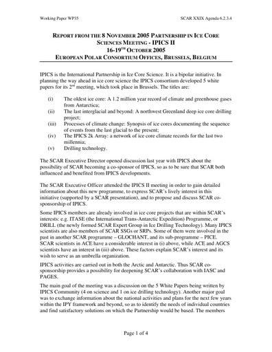 SCAR XXIX WP35: SCAR and IPICS