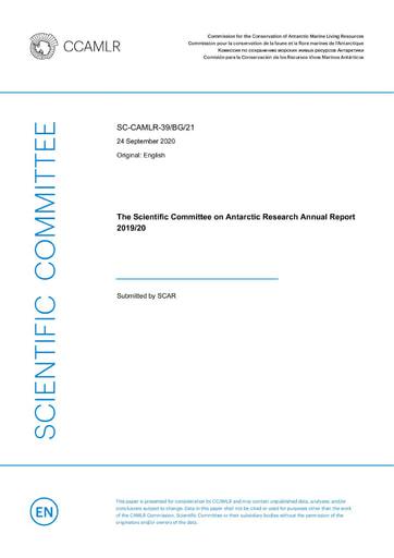 SCAR Annual Report 2019/20 to CCAMLR