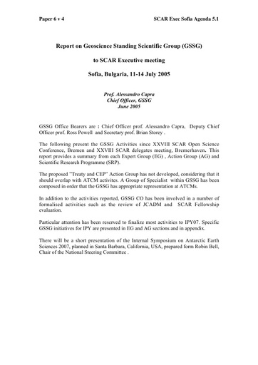 SCAR EXCOM 2005 06: Report of the SCAR Standing Scientific Group on Geosciences (SSG-GS)