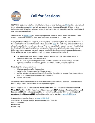 POLAR2018 Conference - Call for Sessions