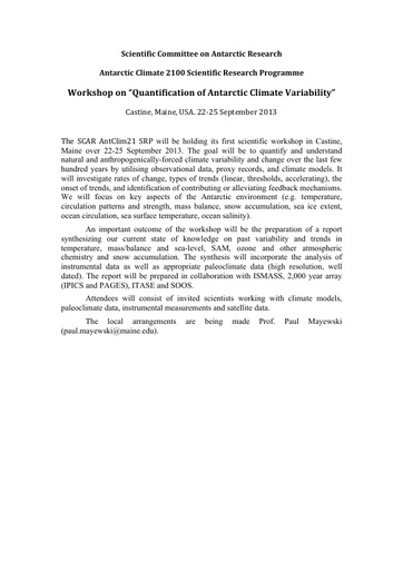 AntClim21 Theme1 Workshop Information, 2013