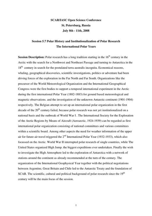 Abstracts of the 4th Meeting of SCAR History Action Group 2008: Polar History and Institutionalization of Polar Research - The International Polar Years