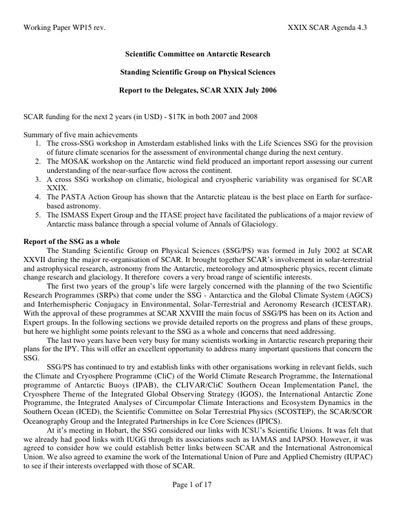 SCAR XXIX WP15: Report of the SCAR Standing Scientific Group on Physical Sciences (SSG-PS)