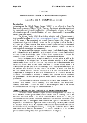 SCAR EXCOM 2005 12: Implementation Plan for Antarctica and the Global Climate System (AGCS)