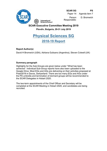 SCAR EXCOM 2019 Paper 14: Report from Physical Sciences Group