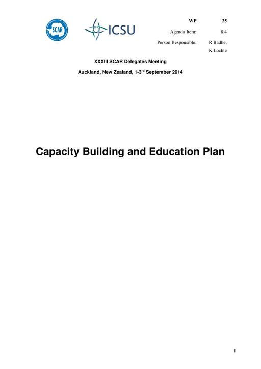 SCAR XXXIII WP25: Capacity Building, Education and Training