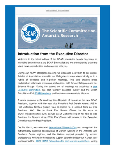 SCAR Newsletter March 2021