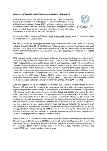Report on 38th CCAMLR and SC-CAMLR meeting