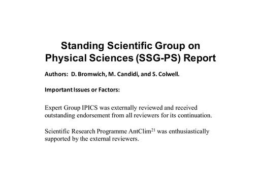 Agenda Item 4.1.1: Report of the SCAR Standing Scientific Group on Physical Sciences (SSG-PS)