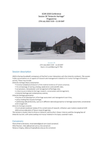 """SCAR 2020 Conference Panel on """"Antarctic Heritage"""""""