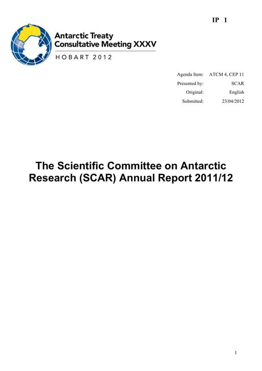 IP001: The Scientific Committee on Antarctic Research (SCAR) Annual Report 2011/12