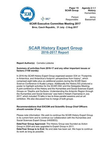 SCAR EXCOM 2017 Paper 15: Report from the SCAR History Group