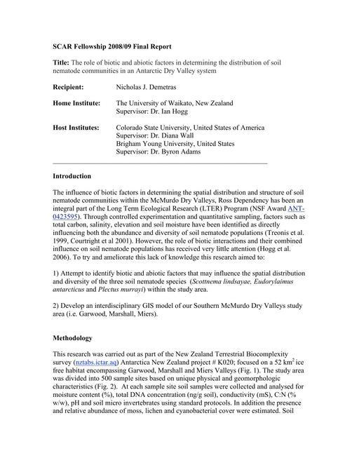 Demetras 2008 Fellowship Report