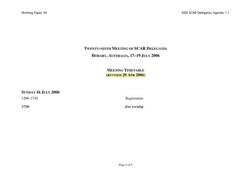 SCAR XXIX WP04: Timetable
