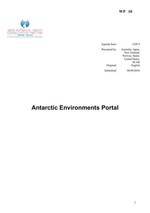 WP010: Antarctic Environments Portal
