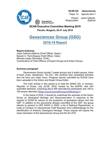SCAR EXCOM 2019 Paper 12: Report from Geosciences Group