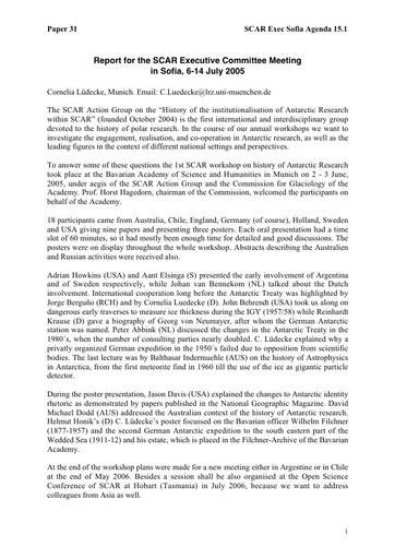 SCAR EXCOM 2005 31: Progress Report from the Subgroup on History of Antarctic Research