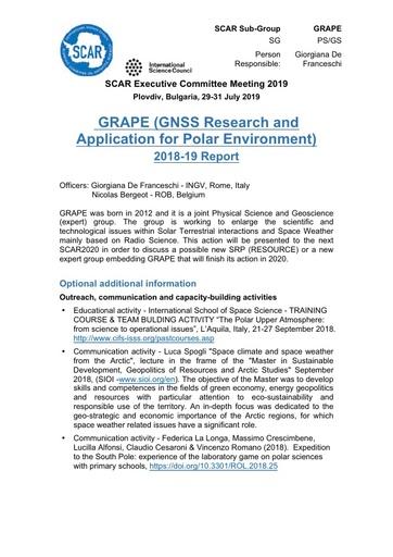 GRAPE Expert Group Report 2019