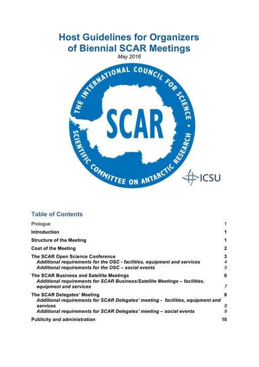 Host Guidelines for Organizers of Biennial SCAR Meetings