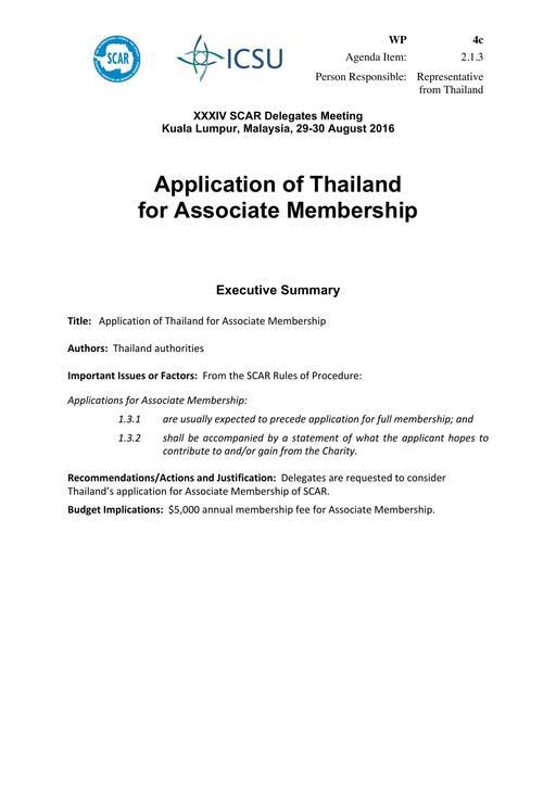 SCAR XXXIV WP04c: Application of Thailand for Associate Membership