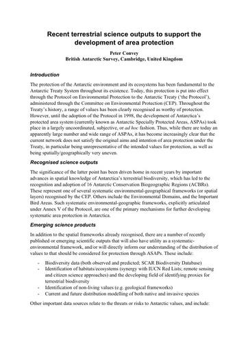 SCAR Presentation 3: Recent science outputs (Prof. Peter Convey)