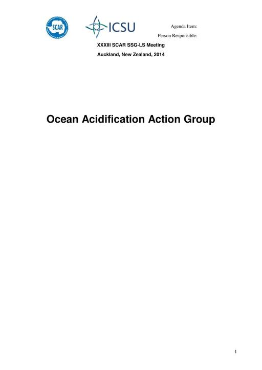 Ocean Acidification Action Group Report 2014