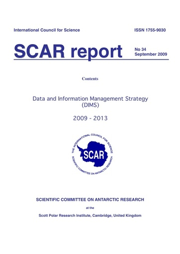 SCAR Report 34 - 2009 September - Data and Information Management Strategy (DIMS), 2009-2013