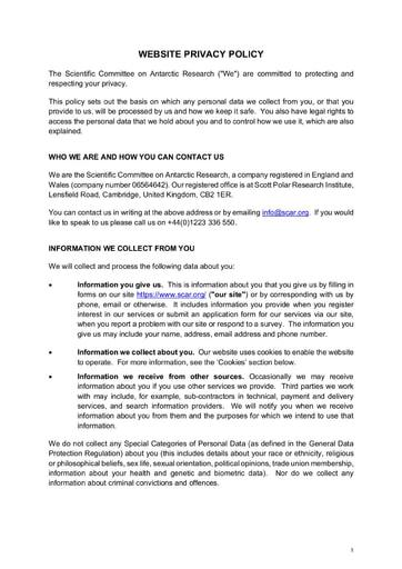 SCAR Privacy Policy (April 2019)