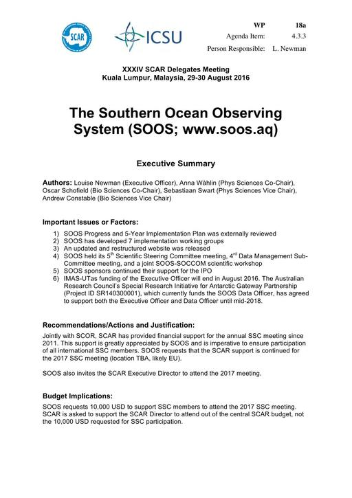 SCAR XXXIV WP18a: The Southern Ocean Observing System