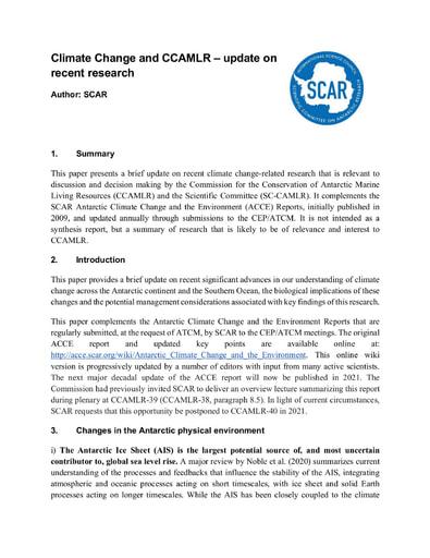 "SCAR Report 2019/2020 ""Climate Change and CCAMLR"" to CCAMLR"