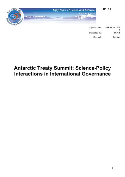 IP020: Antarctic Treaty Summit: Science-Policy Interactions in International Governance