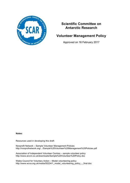 SCAR Volunteer Management Policy 2017