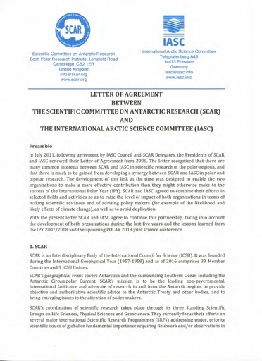 LoA between SCAR and IASC, signed 26 August 2016
