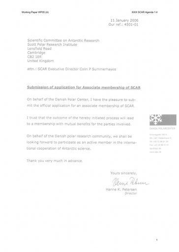 SCAR XXIX WP05iii: Application for Denmark for Associate Membership