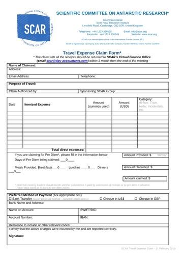 2019 SCAR Travel Claim Form