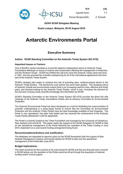 SCAR XXXIV WP23b: Antarctic Environments Portal