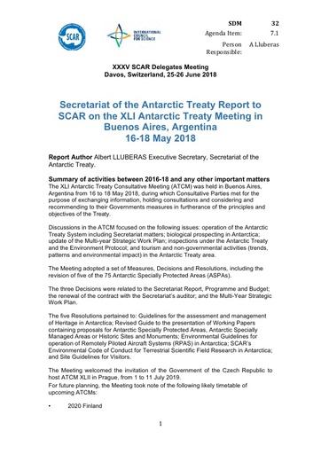SCAR XXXV Paper 32: Antarctic Treaty Secretariat Report