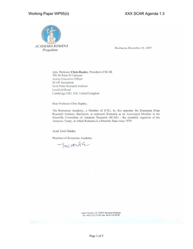 SCAR XXX WP05ii: Application of Romania for Associate Membership