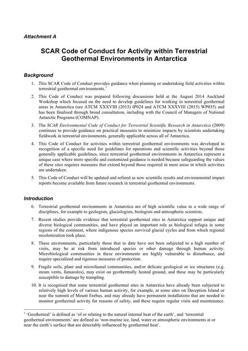 ATT018 to WP023: SCAR Code of Conduct for Activity within Terrestrial Geothermal Environments in Antarctica