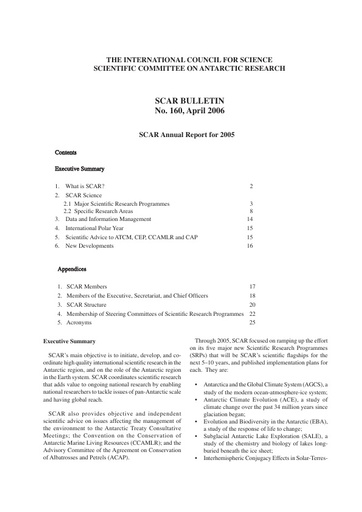 SCAR XXIX IP12: Annual SCAR Report to ATCM (Edinburgh)